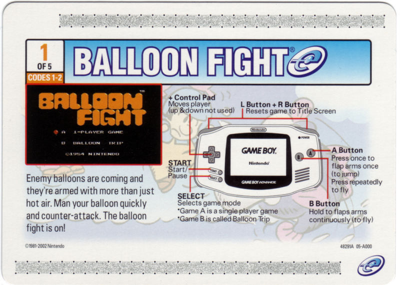Balloon Fight Game Boy Advance Media e-Card 1/5 - Back