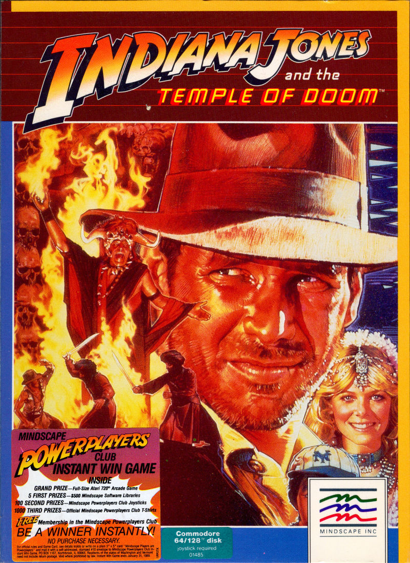 Indiana Jones and the Temple of Doom Commodore 64 Front Cover