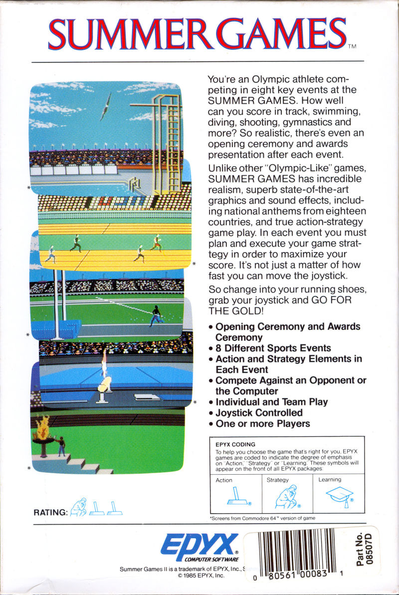 Summer Games Commodore 64 Back Cover