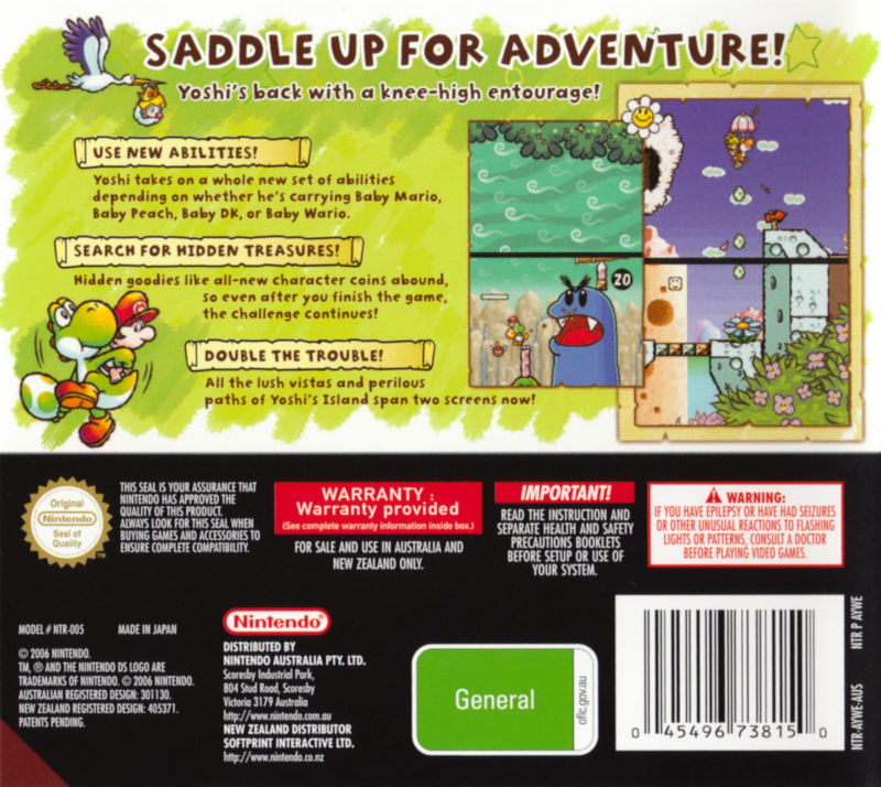 Yoshi's Island DS Nintendo DS Back Cover