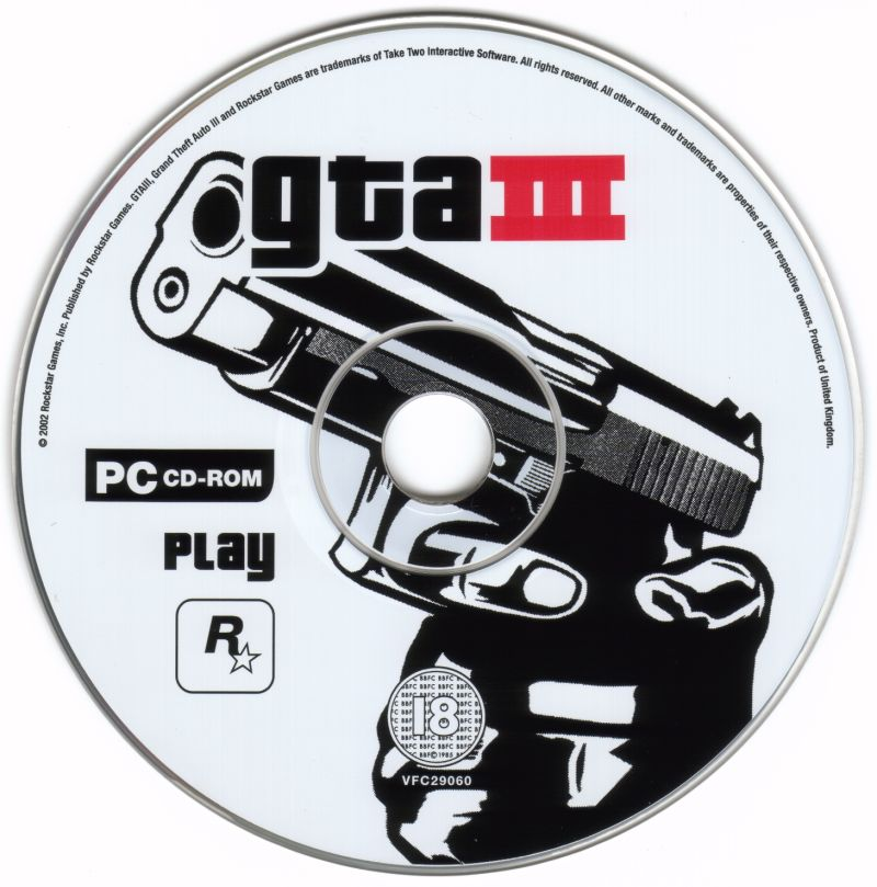 Grand Theft Auto III Windows Media Play Disc