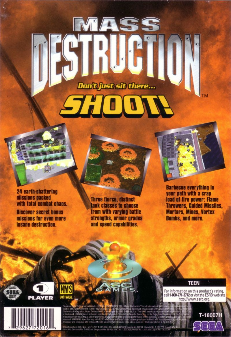 Mass Destruction SEGA Saturn Back Cover