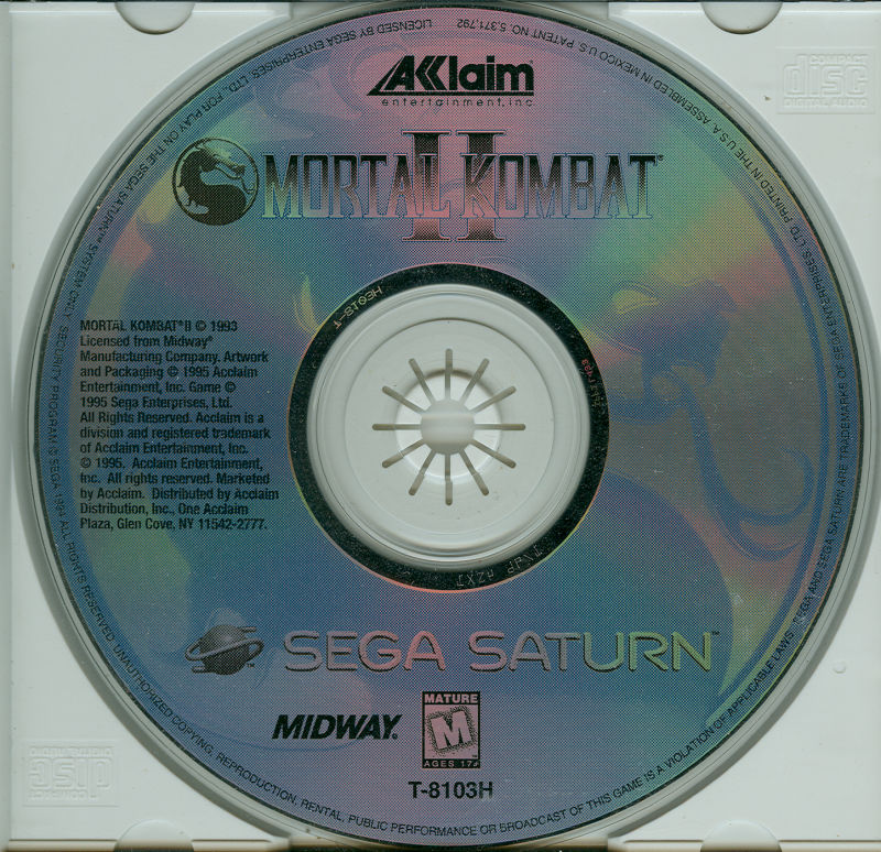 Mortal Kombat II SEGA Saturn Media