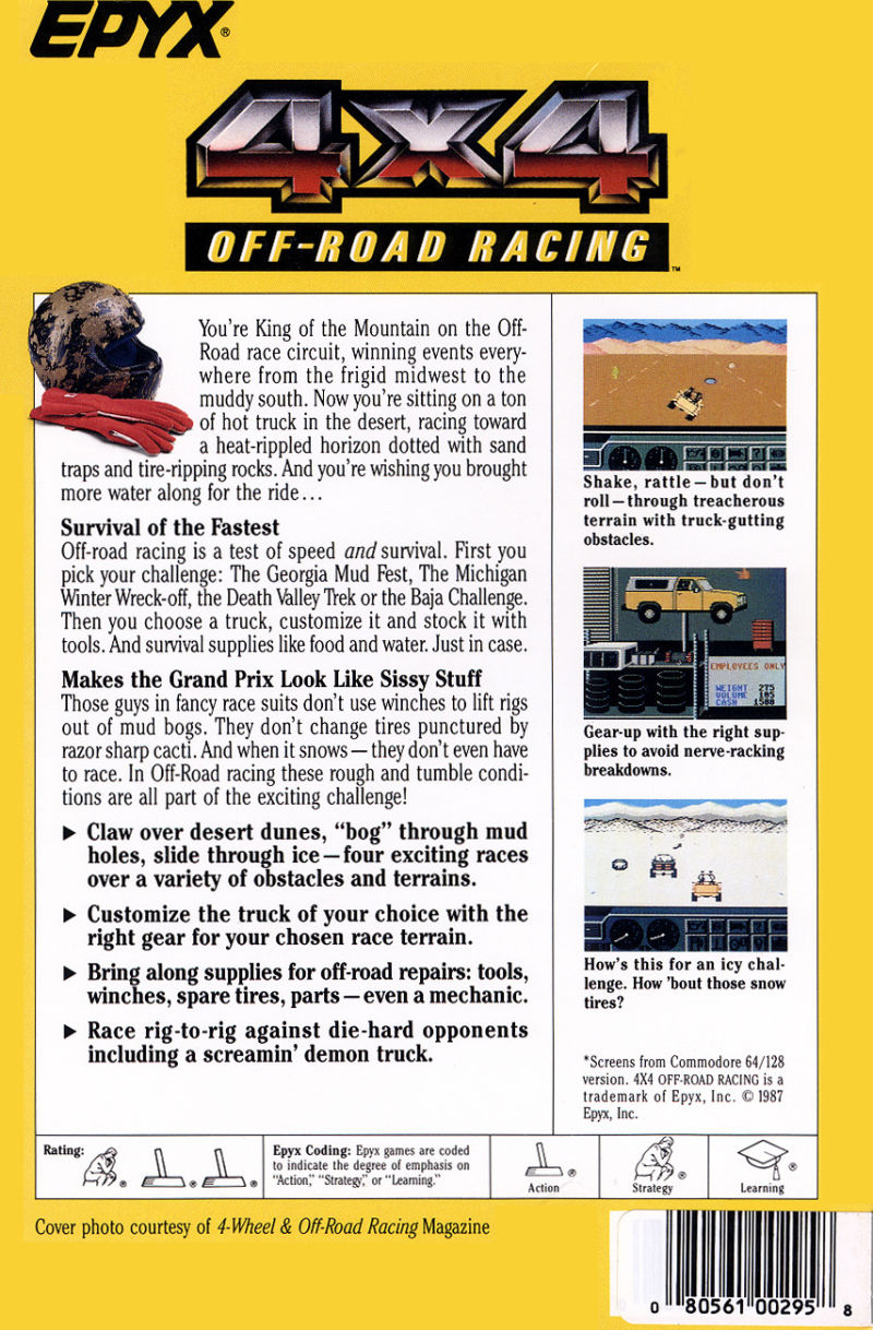 4x4 Off-Road Racing DOS Back Cover