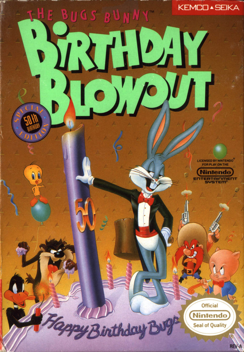 The Bugs Bunny Birthday Blowout NES Front Cover