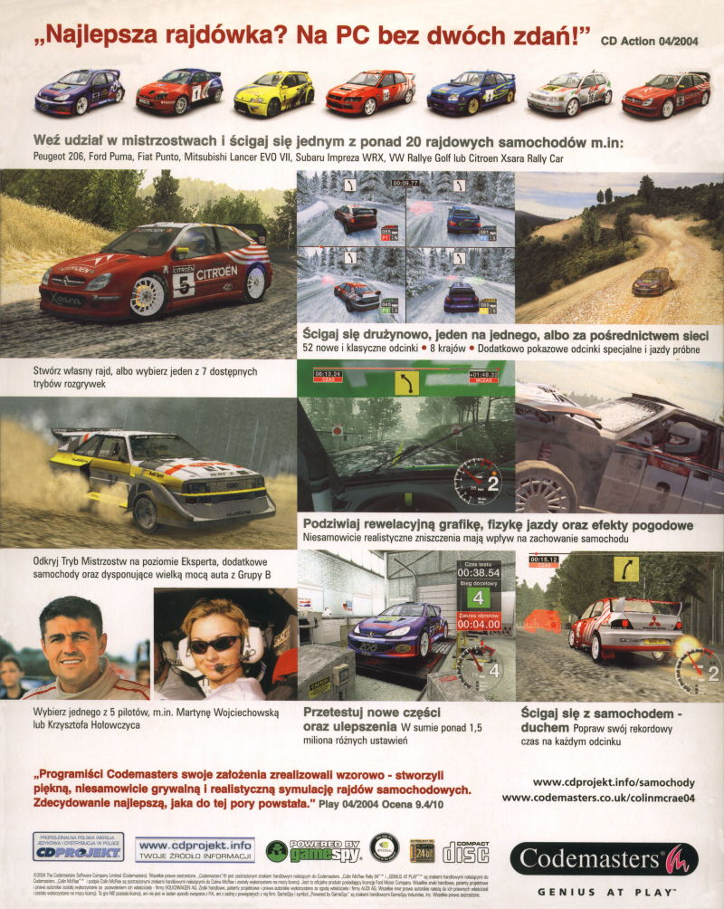Colin McRae Rally 04 Windows Back Cover
