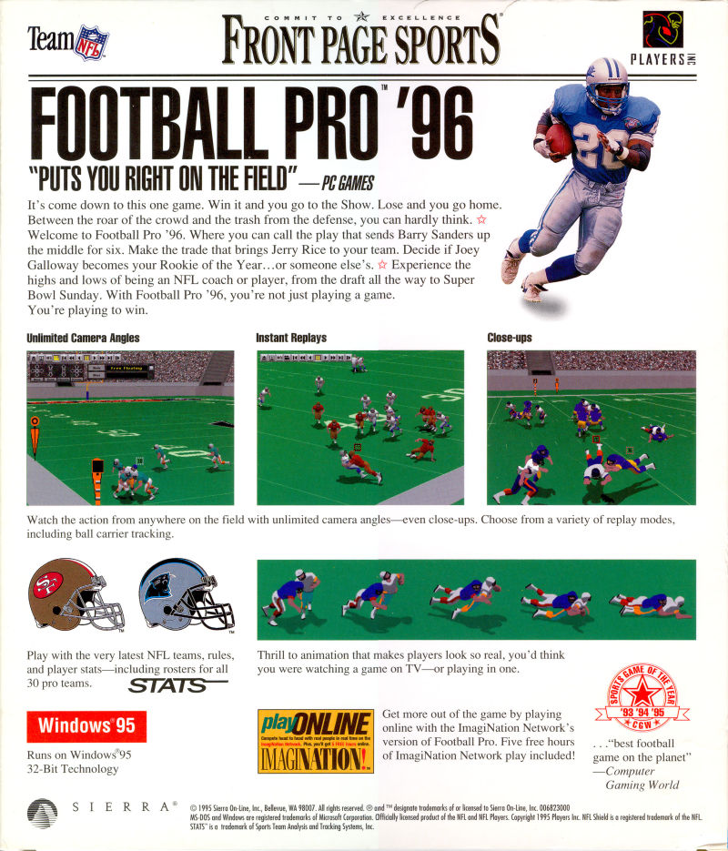 Front Page Sports: Football Pro '96 Season DOS Back Cover