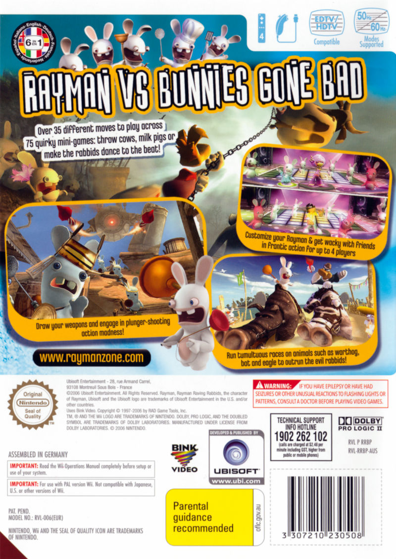 Rayman Raving Rabbids Wii Back Cover