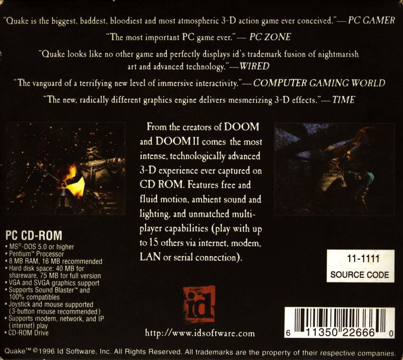 Quake DOS Other CD Tri-Fold - Back