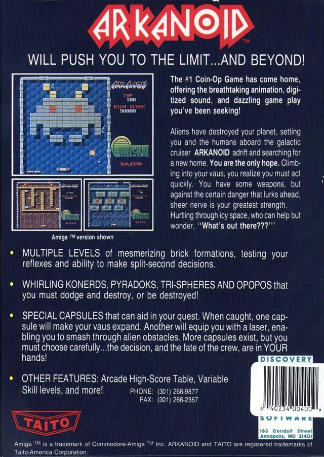 Arkanoid Amiga Back Cover