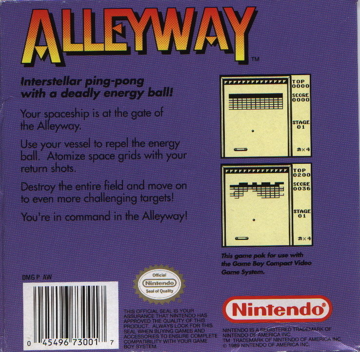 Alleyway Game Boy Back Cover