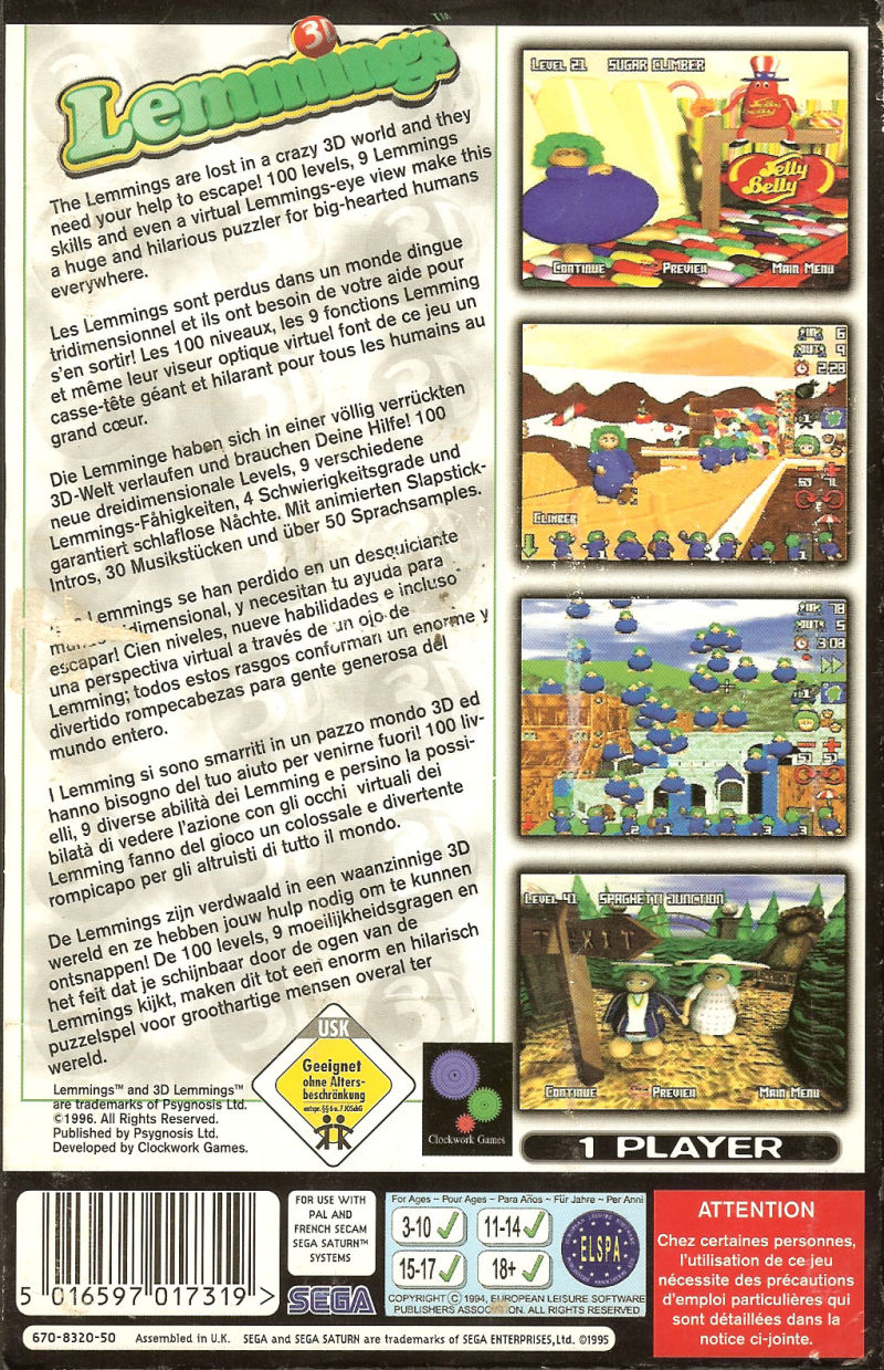 Lemmings 3D SEGA Saturn Back Cover