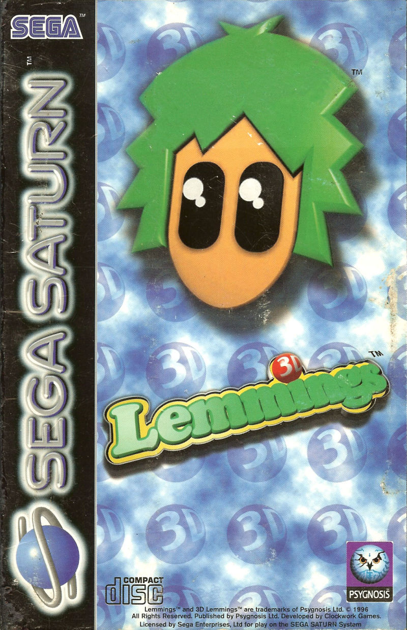 Lemmings 3D SEGA Saturn Front Cover