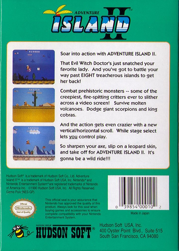 Adventure Island II NES Back Cover