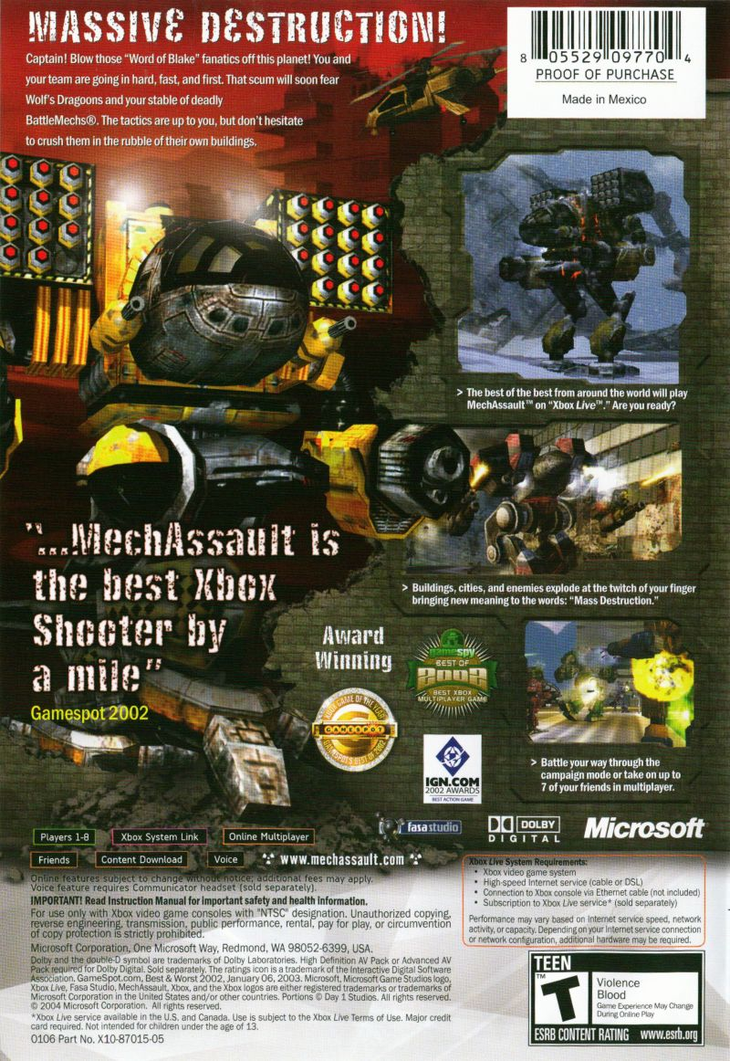 MechAssault Xbox Back Cover