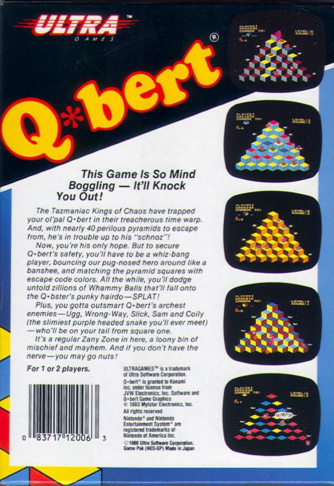 Q*bert NES Back Cover