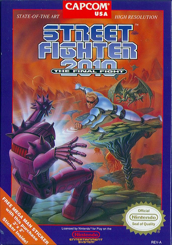 Street Fighter 2010 The Final Fight 1990 Nes Box Cover Art