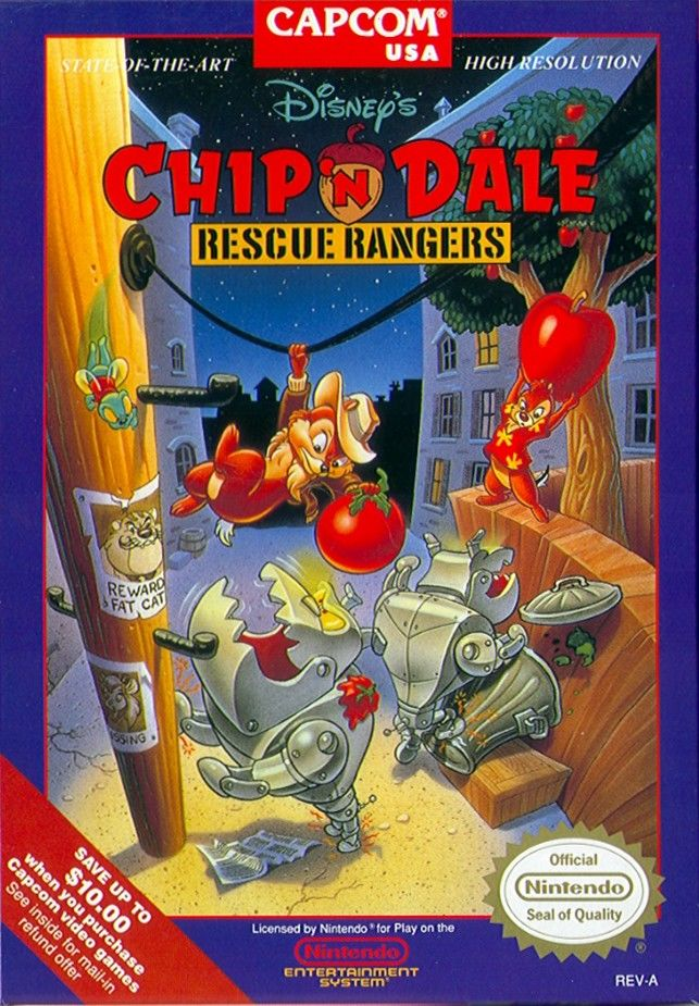 Chip 'N Dale: Rescue Rangers NES Front Cover