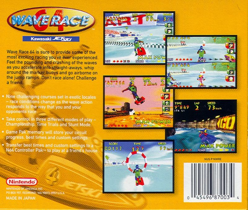 Wave Race 64: Kawasaki Jet Ski Nintendo 64 Back Cover