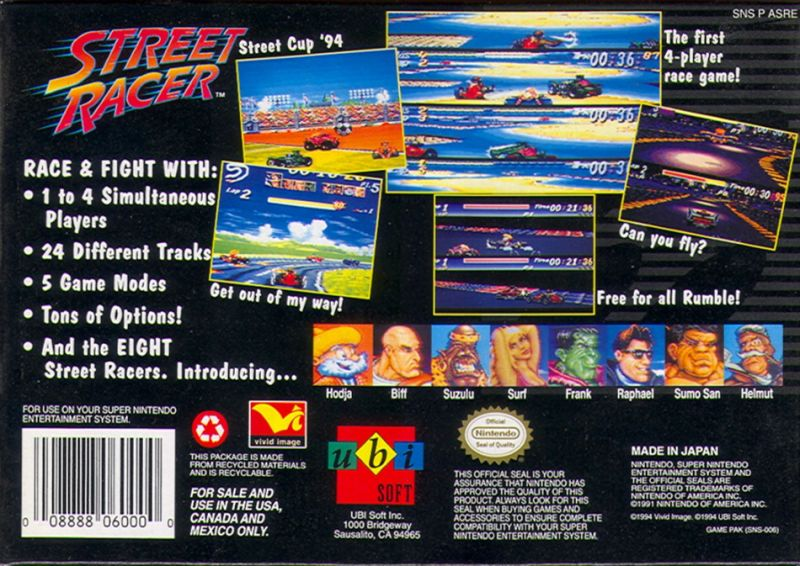 Street Racer SNES Back Cover