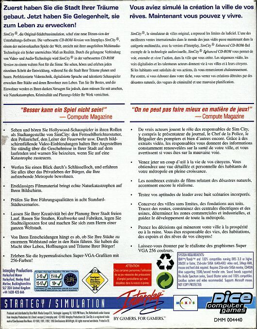 SimCity: Enhanced CD-ROM DOS Back Cover