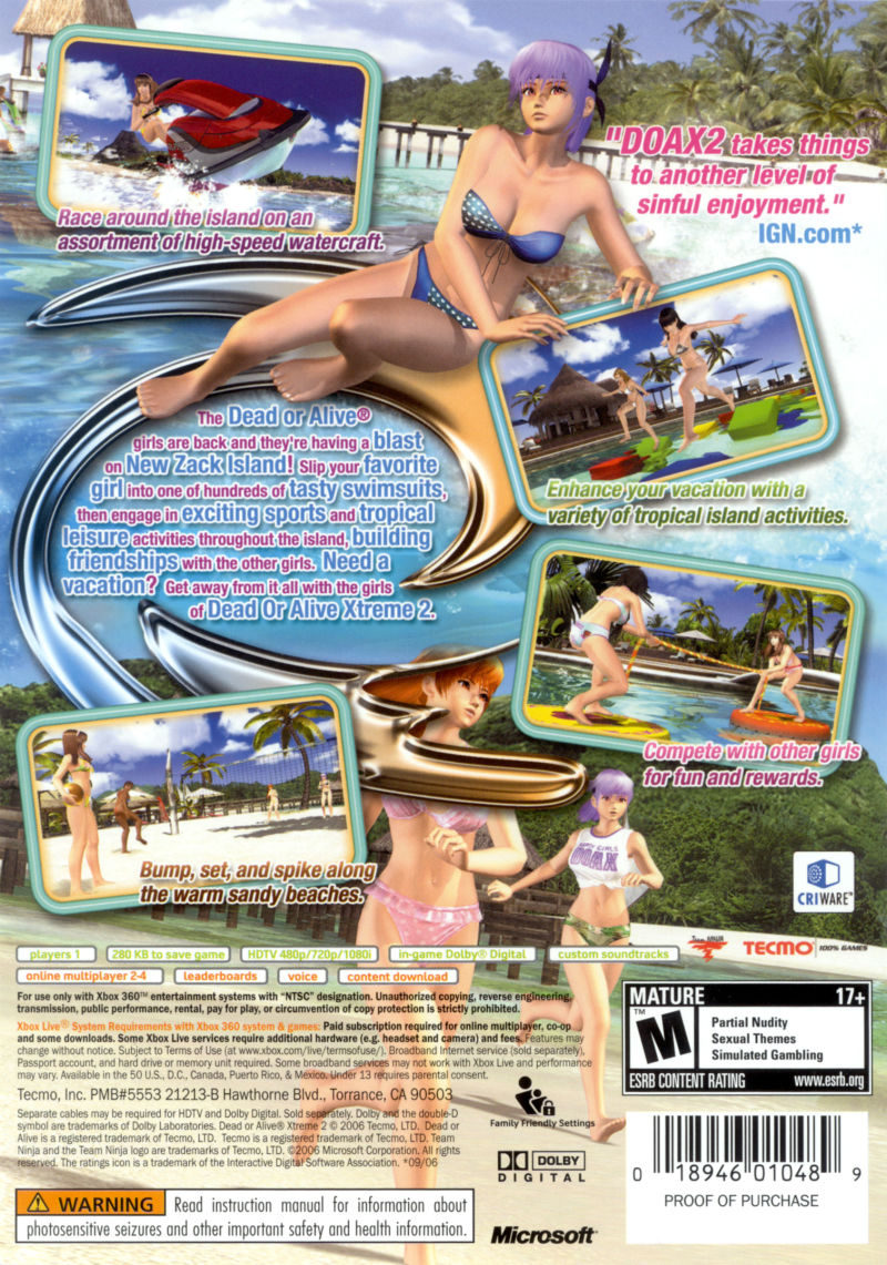 Dead or Alive: Xtreme 2 Xbox 360 Back Cover
