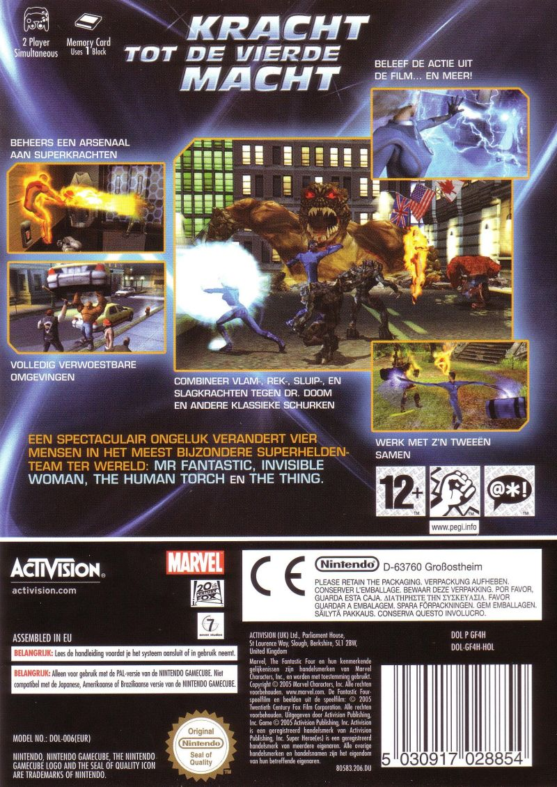 Fantastic 4 GameCube Back Cover
