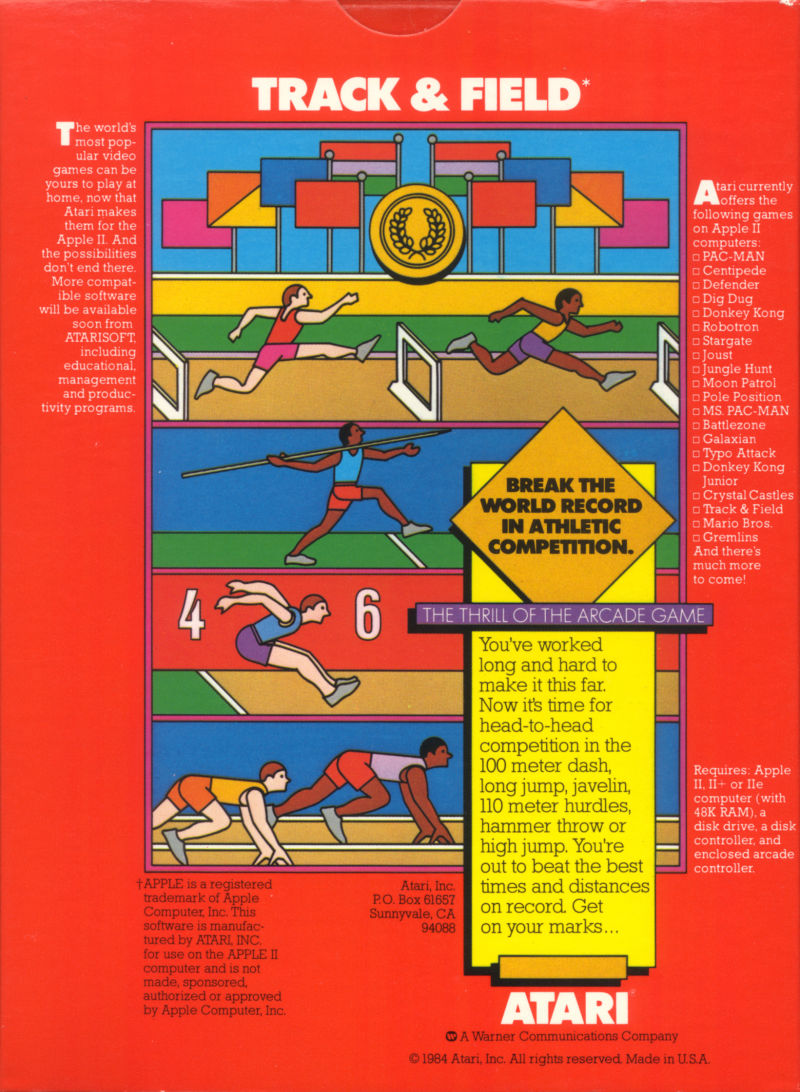 Track & Field Apple II Back Cover