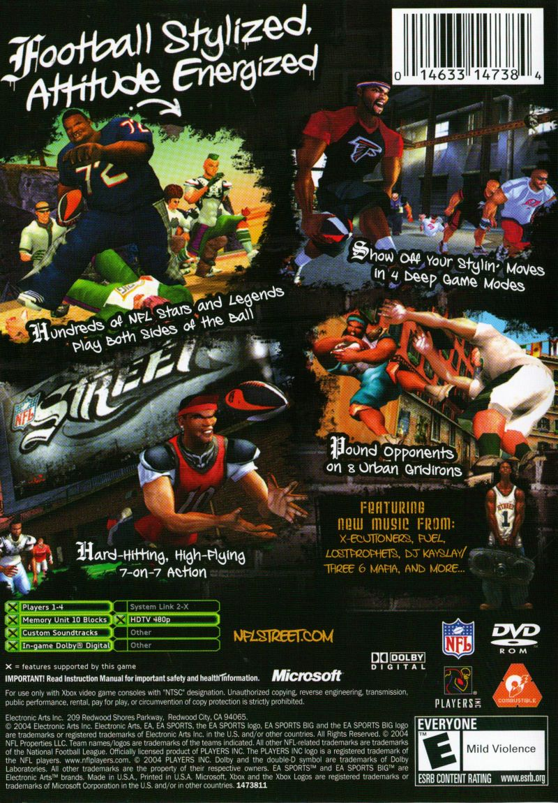 NFL Street Xbox Back Cover