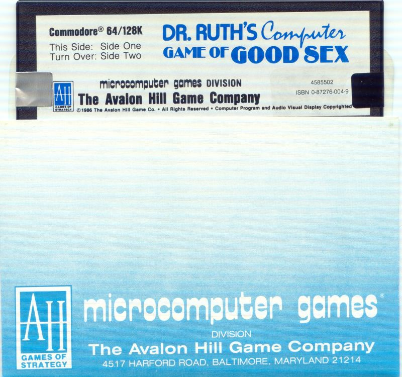 Dr. Ruth's Computer Game of Good Sex Commodore 64 Media