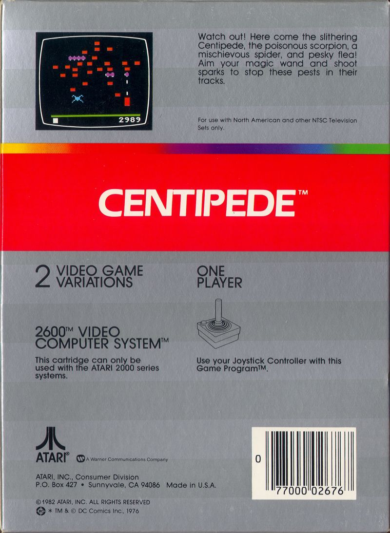 Centipede Atari 2600 Back Cover