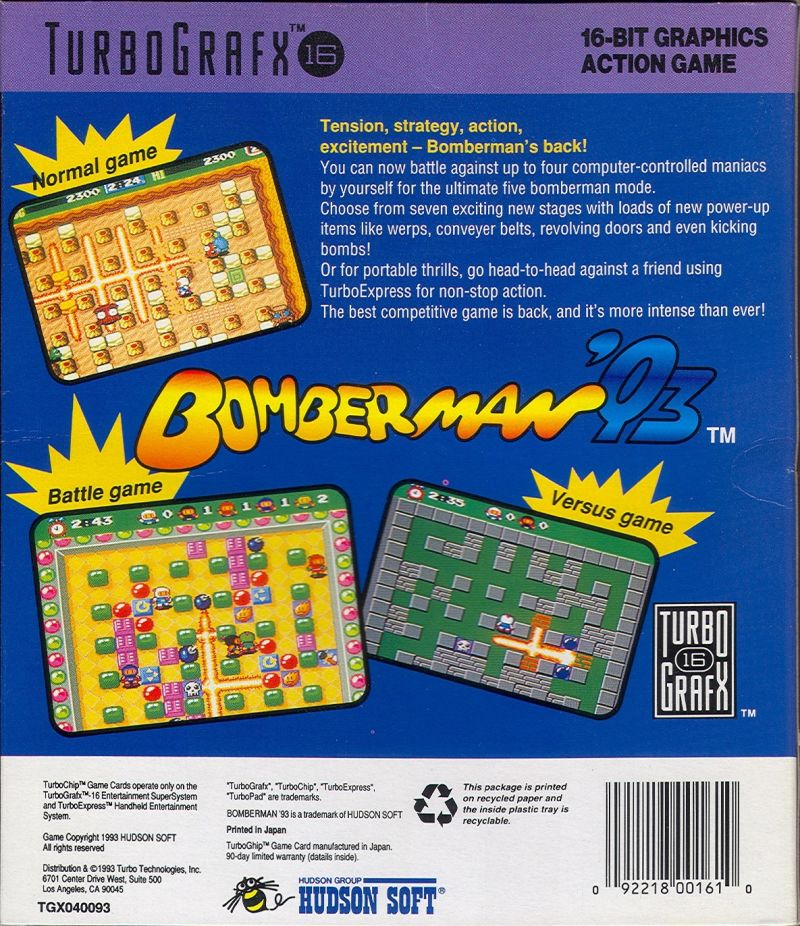 Bomberman '93 TurboGrafx-16 Back Cover
