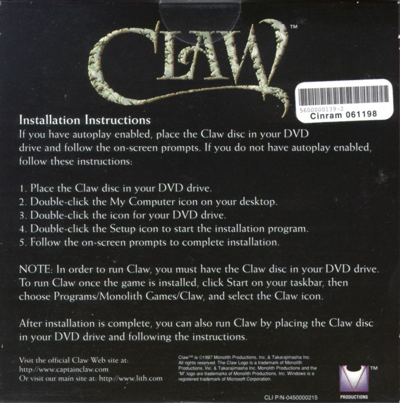 Claw Windows Back Cover