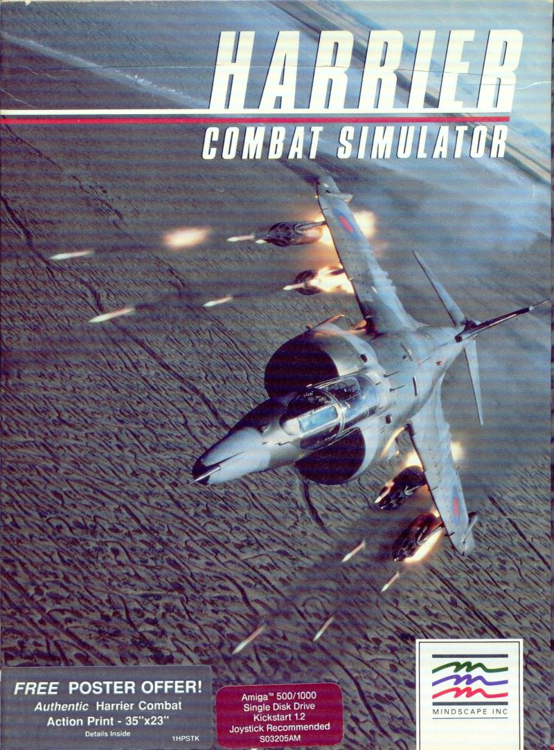 Harrier Combat Simulator Amiga Front Cover