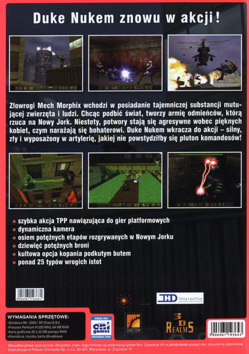 Duke Nukem: Manhattan Project Windows Back Cover