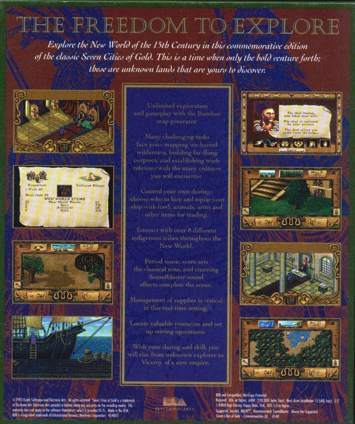 Seven Cities of Gold: Commemorative Edition DOS Back Cover
