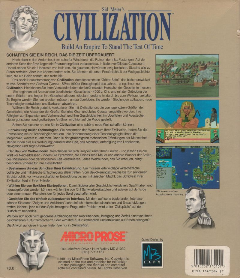 Sid Meier's Civilization Atari ST Back Cover