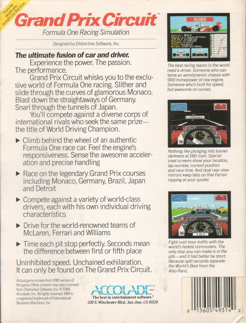 Grand Prix Circuit Amiga Back Cover