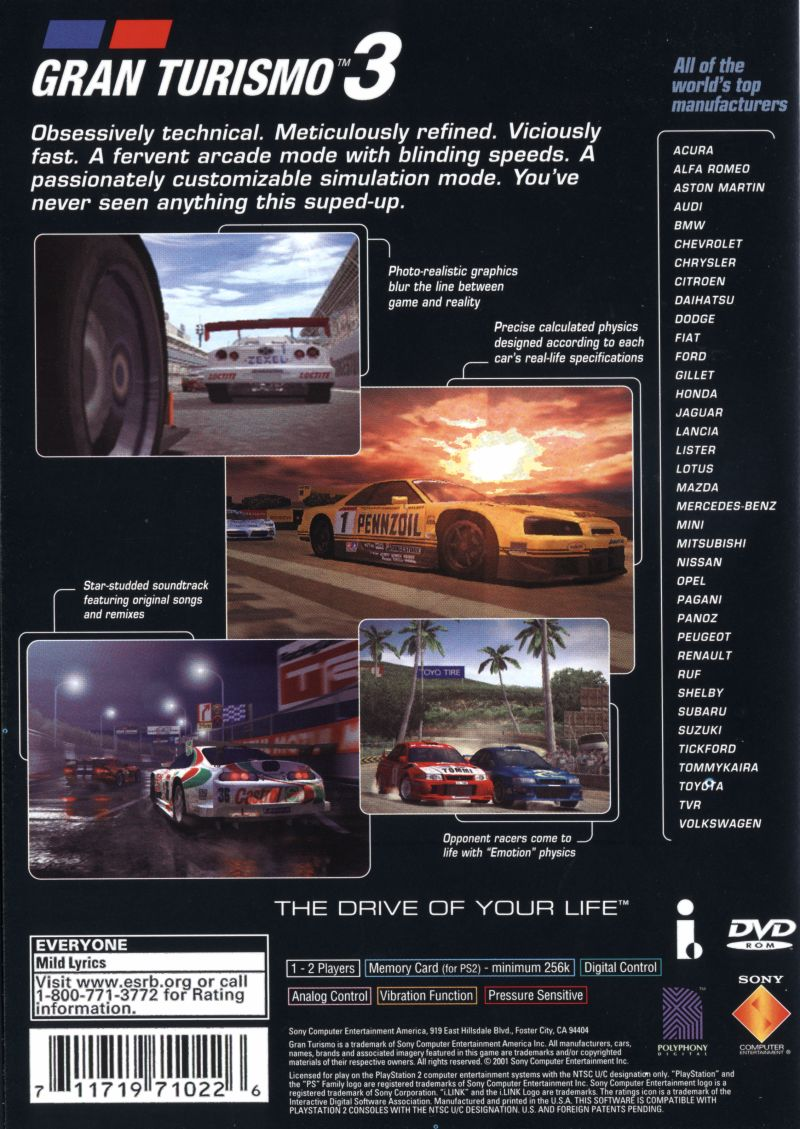Gran Turismo Release Date >> Gran Turismo 3: A-spec (2001) PlayStation 2 box cover art ...