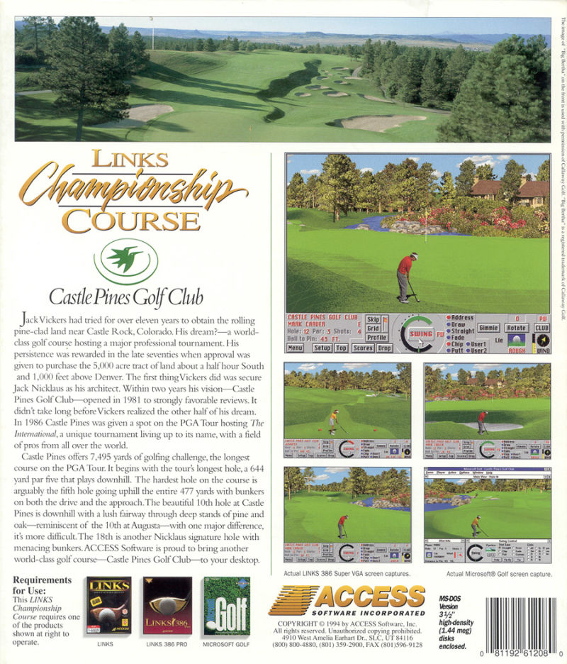 Links: Championship Course - Castle Pines Golf Club DOS Back Cover