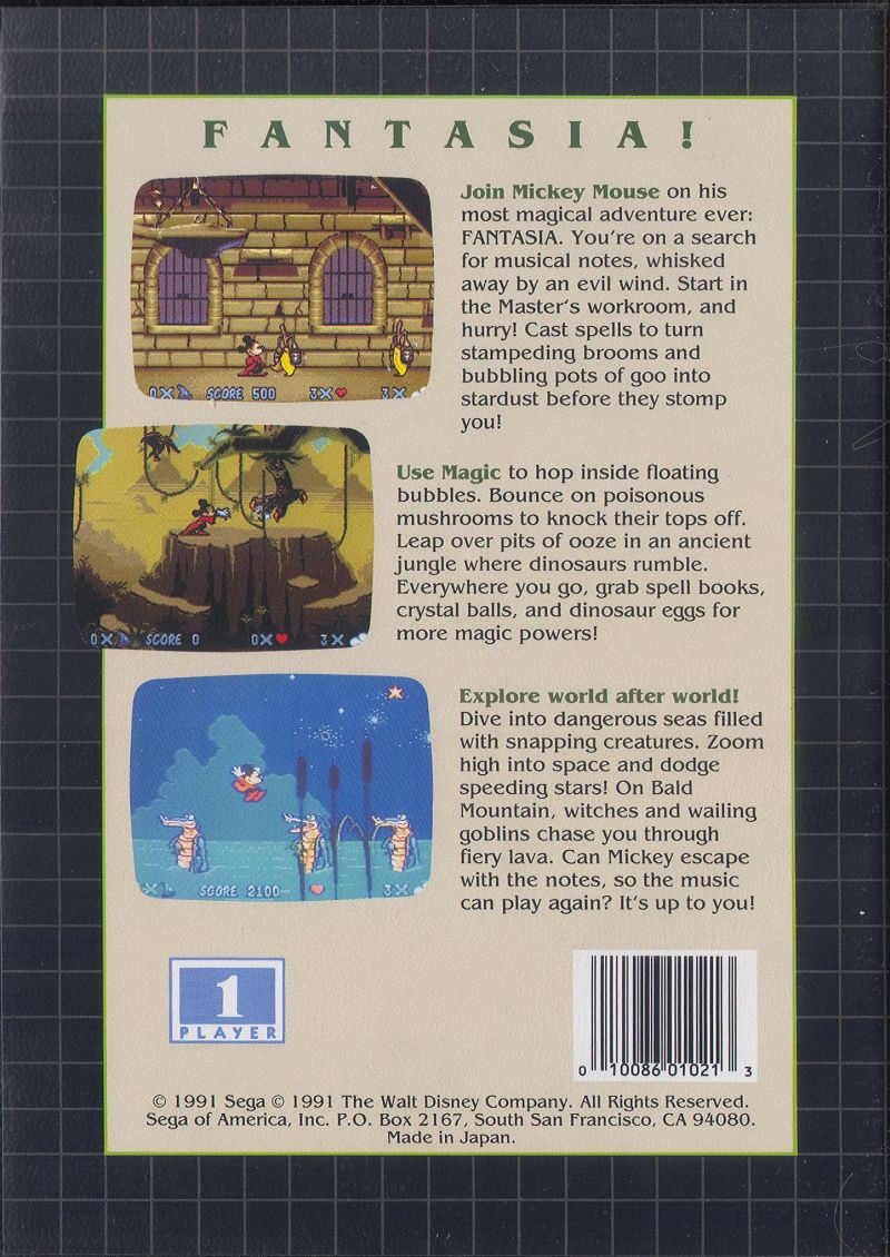 bce25777b Fantasia (1991) Genesis box cover art - MobyGames