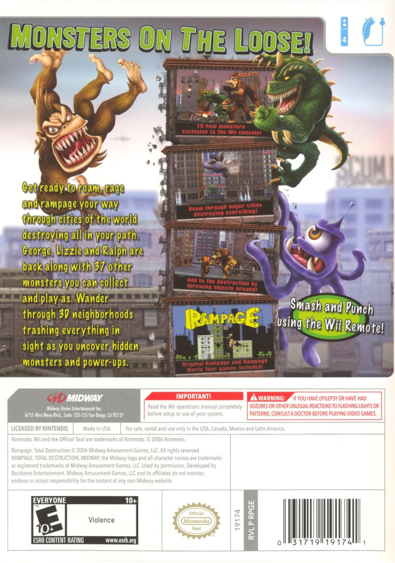 Rampage Total Destruction 2006 Wii Box Cover Art Mobygames