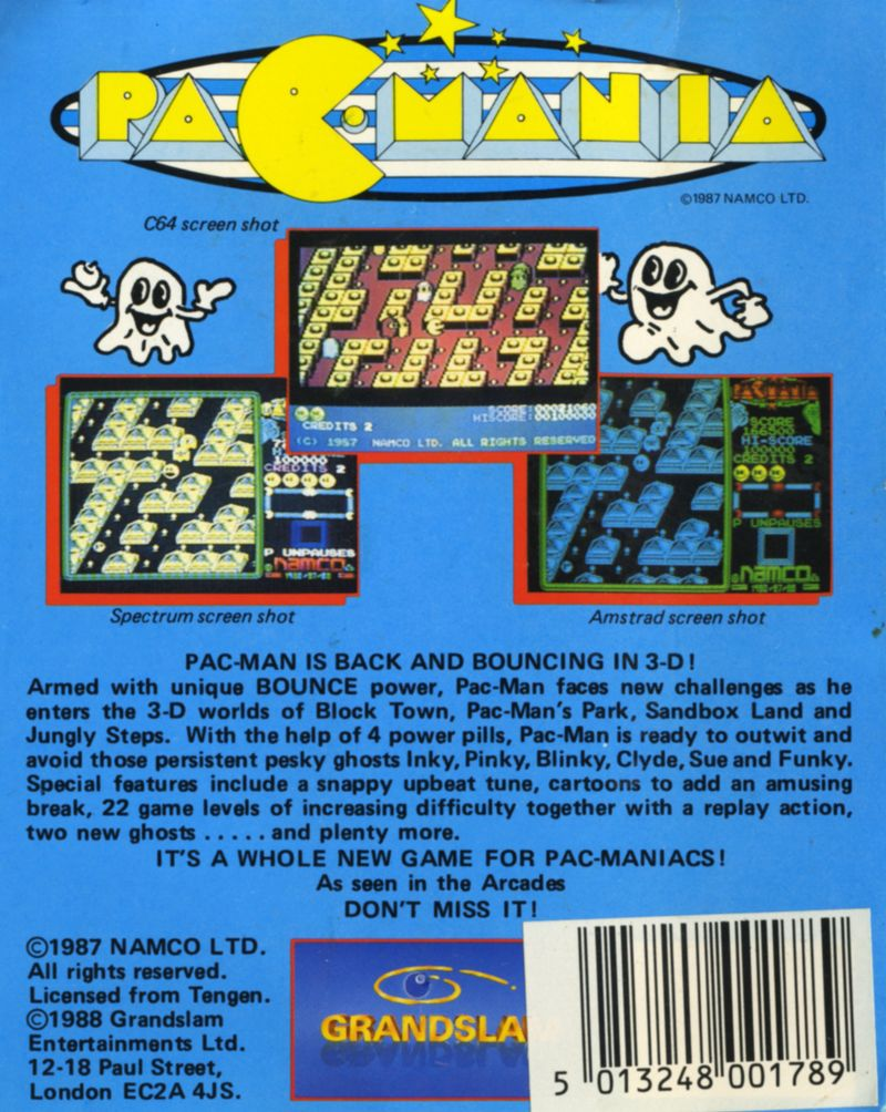 Pac-Mania Amstrad CPC Back Cover