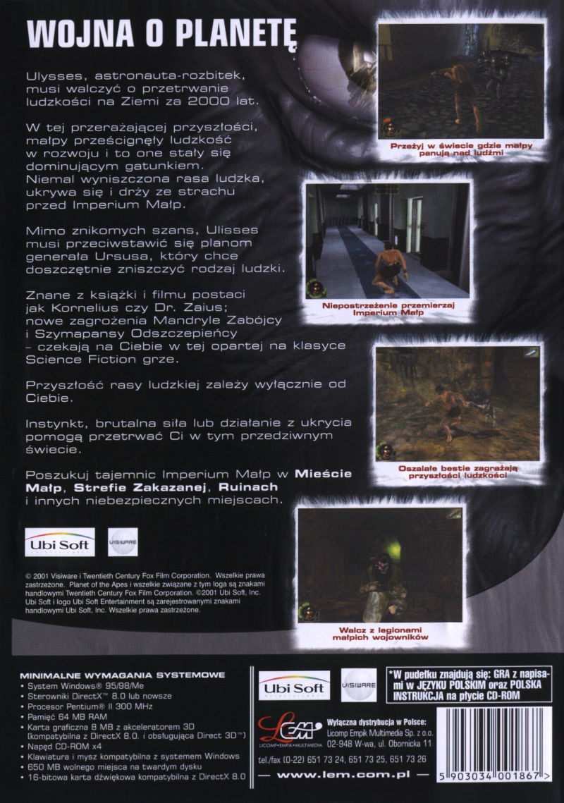 Planet Of The Apes 2001 Windows Box Cover Art Mobygames