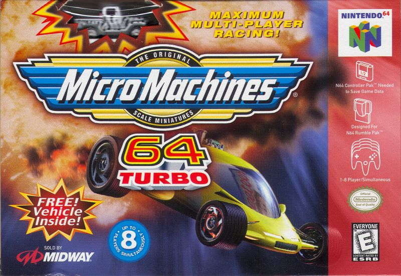 Micro Machines 64 Turbo Nintendo 64 Front Cover Shows Free Vehicle