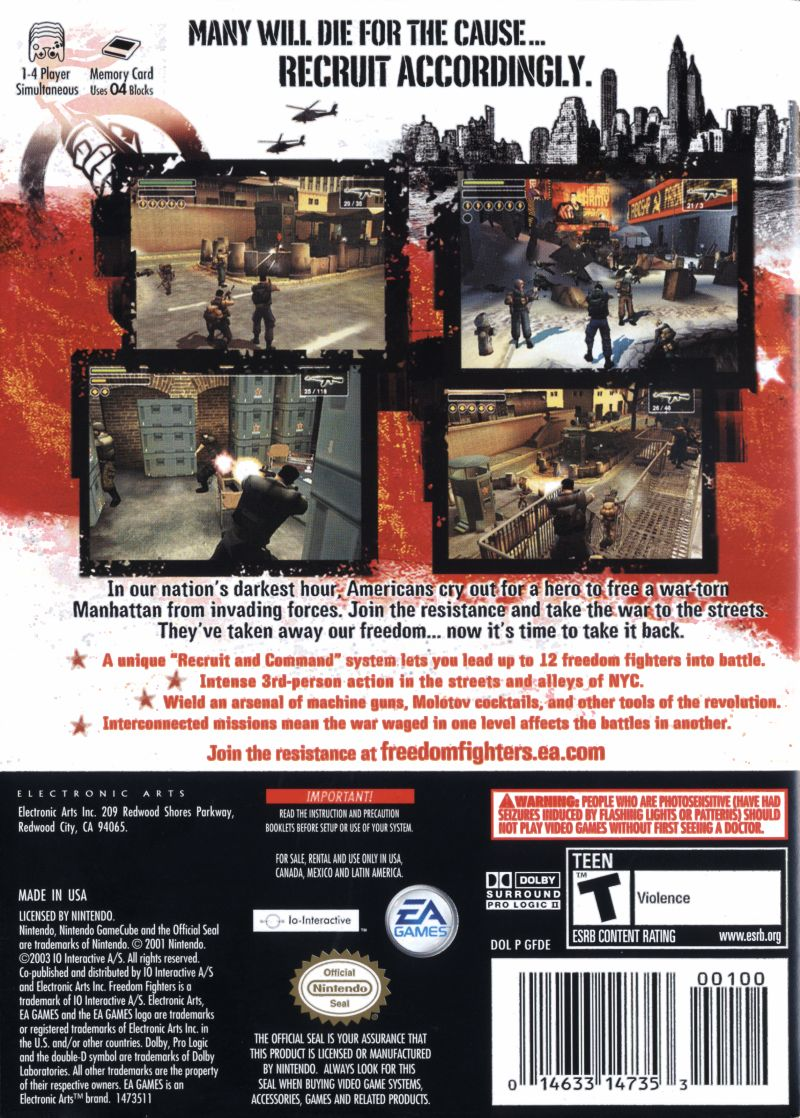Freedom Fighters GameCube Back Cover