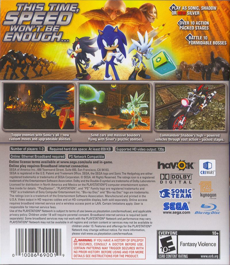 Sonic the Hedgehog PlayStation 3 Back Cover