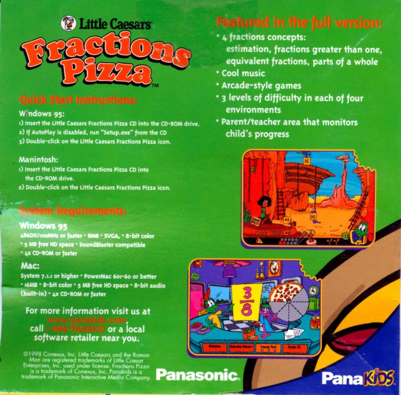 Little Caesars Fractions Pizza Macintosh Back Cover