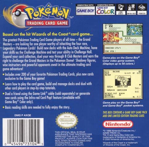 Pokémon Trading Card Game Game Boy Color Back Cover