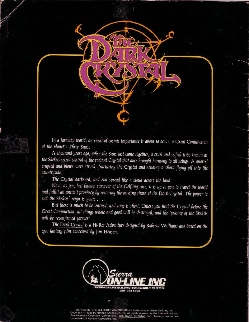 Hi-Res Adventure #6: The Dark Crystal Apple II Back Cover